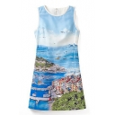 Blue Landscape Print Round Neck Dress