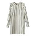 Striped Round Neck Long Sleeve Dress