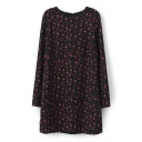 Print Long Sleeve Round Neck Dress