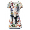 Colorful Butterfly Print Short Sleeve Belted Dress