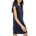 Navy Round Neck Ruffled Short Sleeve Dress