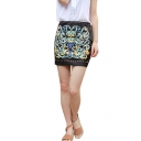 Black Vintage Floral Print Beaded Pencil Mini Skirt