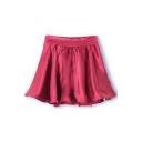 Burgundy Plain Ruffle Hem Elastic Waist Skirt