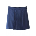 Navy Plain Zip Fly Ruched Mini Skirt