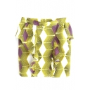 Geometrical Pattern Ruffled Trims Mini Skirt