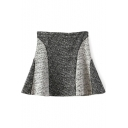 Color Block Woolen A-Line Mini Skirt