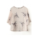 Dragonfly Print Short Sleeve Chiffon Top