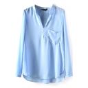 Light Blue Long Sleeve Pocket Chiffon Blouse