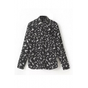 Black Graffiti Print Stand Collar Long Sleeve Shirt