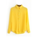 Yellow Loose Long Sleeve Point Collar Shirt