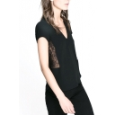 Black Lace Insert V-Neck Short Sleeve Blouse