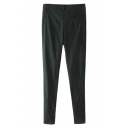 Black Zipper Fly Elastic Pencil Pants