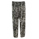 Snake Print Elastic Pants with Split