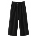 Black Drawstring Elastic Waist Wide Leg Pants