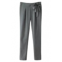 Gray Bow Waist Loose Harem Pants