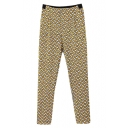 Print Casual Fitted Zip Fly Pencil Pants