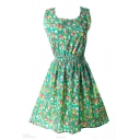 Green Sleeveless Blossom Flora Print Dress