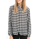 Plaid Print Long Sleeve Single Breast Blouse
