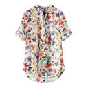 Floral Print Stand Collar 3/4 Sleeve Blouse