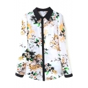Floral Print Contrast Edge Long Sleeve Shirt