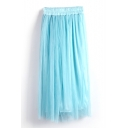Blue Double Mesh Layer A-line Tea Length Skirt