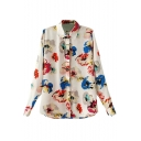 Colorful Floral Print Long Sleeve Shirt