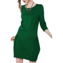 Green Round Neck 3/4 Sleeve Ballon Dress