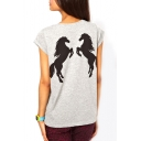 Gray Short Sleeve Double Horse Print T-Shirt