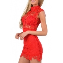 Red Lace Crochet Cutout Sleeveless Stand Collar Dress