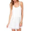 White Daisy Spaghetti Strap Layered Dress