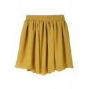 Yellow High Elastic Waist Plain Pleated Chiffon Skirt
