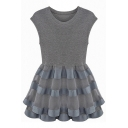 Gray Organza Insert Sleeveless Round Neck Dress