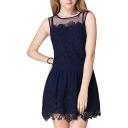 Blue Round Neck Lace Sleeveless Mini Dress