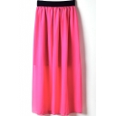 Rose Red Elastic Waist Chiffon Maxi Skirt