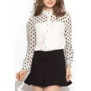 White Illusion Polka Dot Pattern Chiffon Shirt