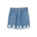 Denim Elastic Waist Fitted Bodycon Pencil Skirt
