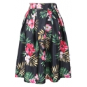 Tropical Flower Print Elastic Waist Pleated Midi Skirt
