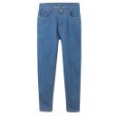 Light Blue Elastic Zipper Fly Stitch Detail Jeans