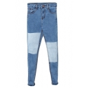 Color Block Blue Patch Stitch Detail Jeans with Zipper Fly