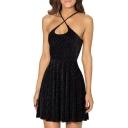 Black Leopard Pattern Changeable Spaghetti Strap Slip A-line Velvet Dress
