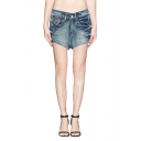 Vintage Blue Low Waist Distressed Denim Shorts
