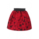 Burning Red Wool Print Elastic Waist Mini Skirt