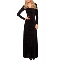 Velvet Black Geometric Pattern Print Maxi Long Sleeve Dress