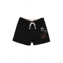 Cartoon Animal Embroidered Wool Shorts