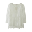 White Sweet Style Round Neck 3/4 Sleeve Flower Embroidered Organza Blouses