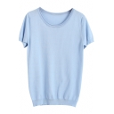 Macarons Color Round Neck Knit Fitted Plain T-Shirt