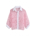 Floral Pattern Organza Lapel Long Sleeve Loose Shirt