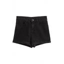 Black Denim Dark Wash High Waist Fitted Shorts