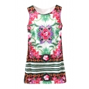 Plum Flower&Green Leaves Print Slim Dress