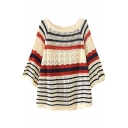 Sweet Style 3/4 Sleeve Stripe&Cutout Detail Beige Smock Sweater